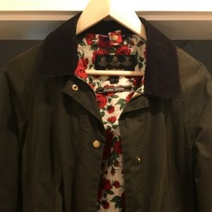 Barbour Olive Rose Liberty Print Waxed Jacked Sz 6